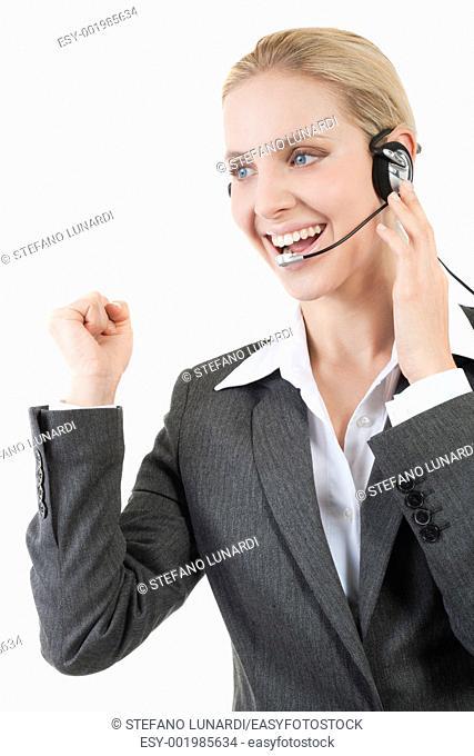 Happy customer service representative