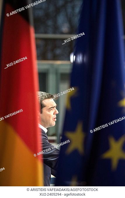 Prime Minister of Greece Alexis Tsipras brief the media during a bilateral meeting at the chancellery in Berlin