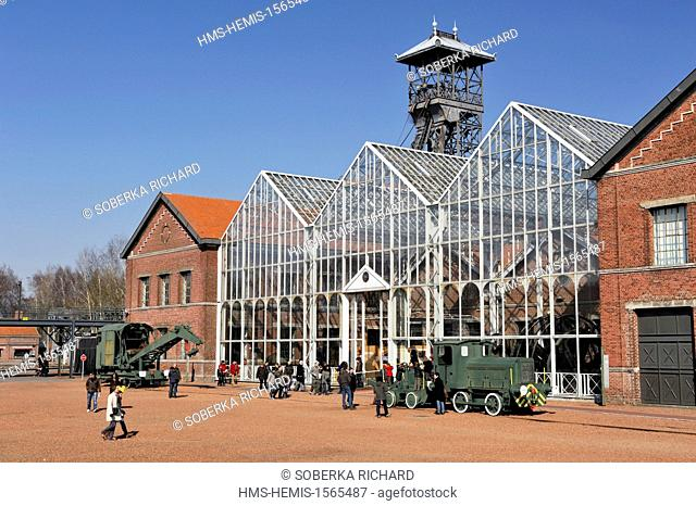 France, Nord, Lewarde, Mining History Centre listed as World Heritage by UNESCO, glass roof of machines in the main courtyard