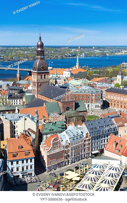 View of Riga with Riga Dome cathedral and the market square, Riga, Latvia