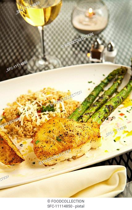 Sauteed Sea Bass with Asparagus, Rice and a Glass of Wine