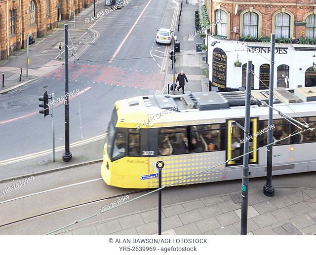 Tram near Piccadilly station in Manchester city centre. Manchester, England, United Kingdom