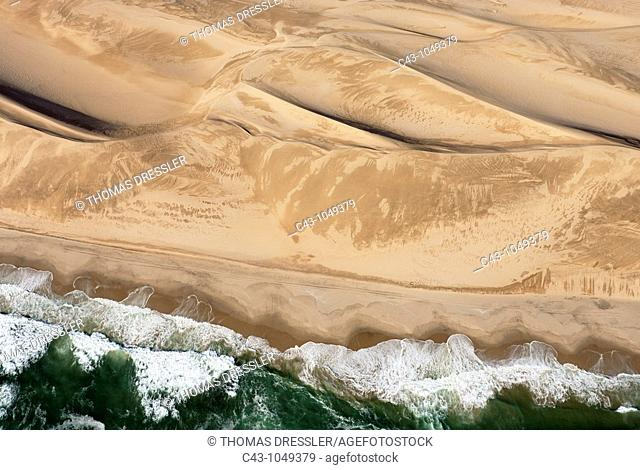 Namibia - Namib Desert and Atlantic Ocean south of Walvis Bay  Aerial view  Namib-Naukluft Park, Namibia