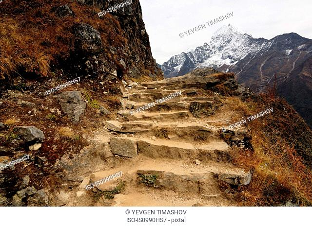 Steps in the Himalayas on way from Namche Bazaar to Khumjung, Nepal