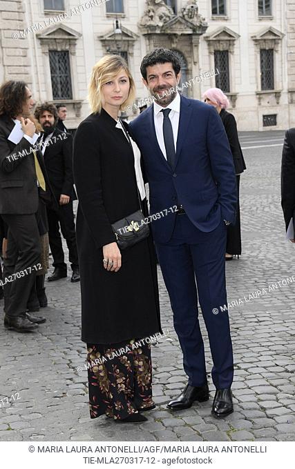 The actor Pierfrancesco Favino with wife Anna Ferzetti arrive for David di Donatello Awards nominees prize, Quirinale, Rome, ITALY-27-03-2017