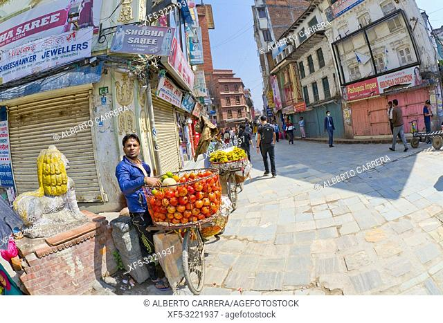 Peddler, Street Scene, Thamel District, Kathmandu, Nepal, Asia