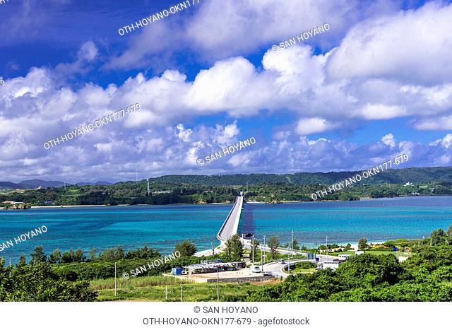 Kouri Bridge to Kouri island, 2960 meters long opened in 2005, the longest and most photogenic bridge in Okinawa, Kouri island, Japan