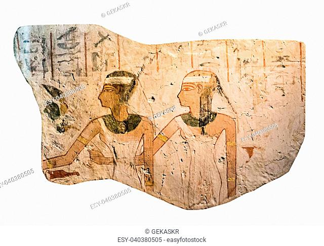 Ancient Egyptian stone with drawings and inscriptions