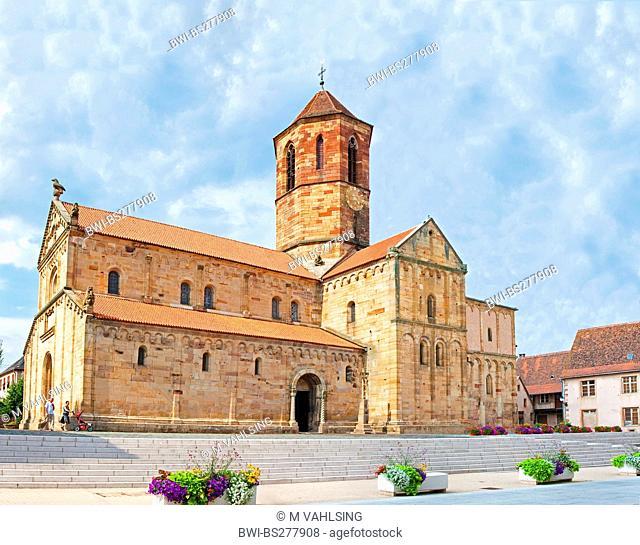 romanic church Saints-Pierre-et-Paul at Rue du General de Gaulle, France, Bas-Rhin, Alsace, Rosheim