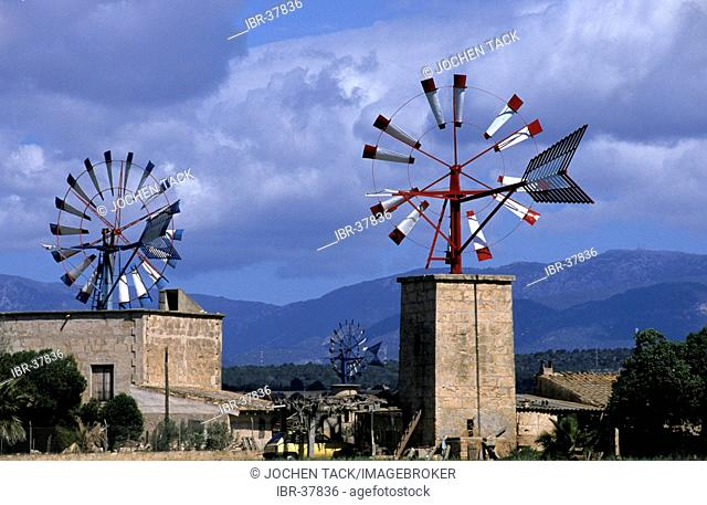 ESP, Spain, Balearic Islands, Mallorca: windmills near Palma