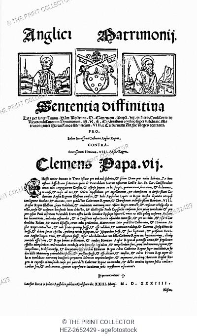 'Bull of Pope Clement VII. Against Henry VIII's Divorce', 1530, (1903). From Social England, Volume III, edited by H.D. Traill, D.C.L. and J. S