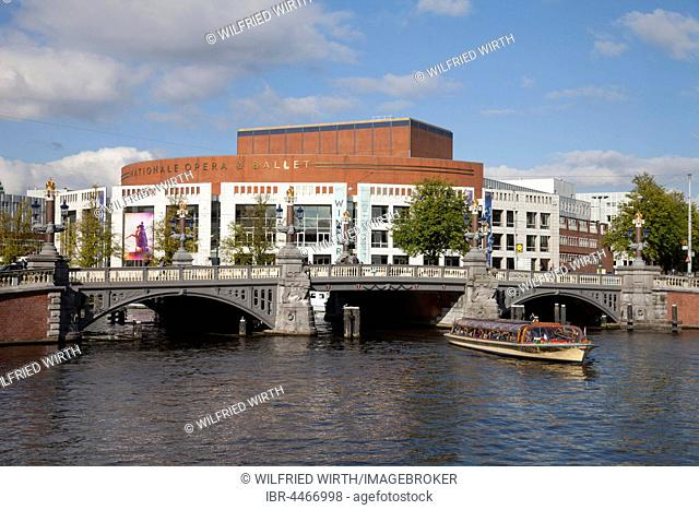 De Nationale Opera, Dutch National Opera, opera, boat on Amstel Canal, Amsterdam, Holland, Netherlands