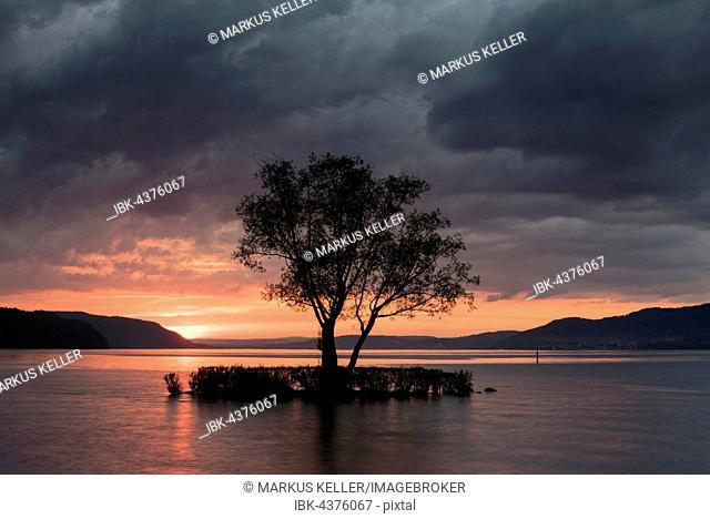 Sunset with clouds at Klausenhorn, Dingelsdorf, Lake Constance, Baden-Württemberg, Germany