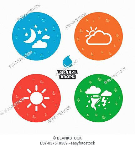 Water drops on button. Weather icons. Moon and stars night. Cloud and sun signs. Storm or thunderstorm with lightning symbol