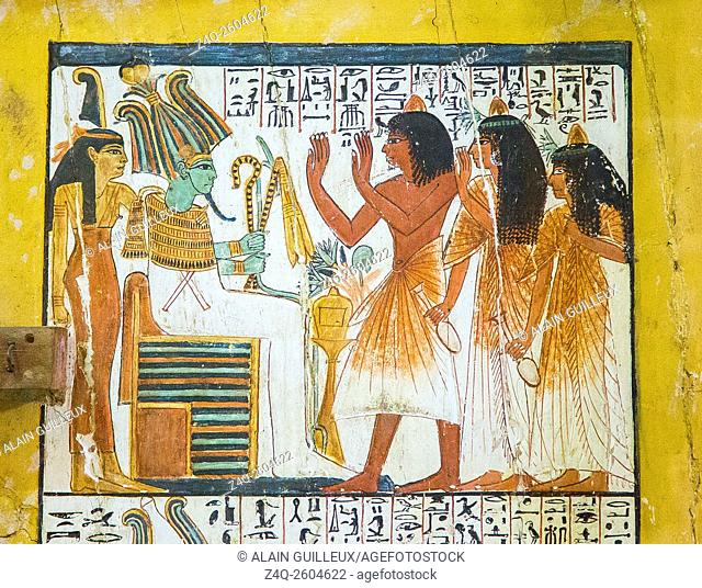 Egypt, Cairo, Egyptian Museum, from the tomb of Sennedjem, Deir el Medina : Door panel (verso), top register, Sennedjem and his family worship the god...