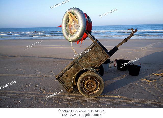 car trailer and fishing accessories mollusk and shellfish on the beach at Doñana Natural park, Huelva, Andalusia, Spain, Europe