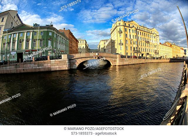 Bridge over the channel in Saint Petersburg, Russian Federation