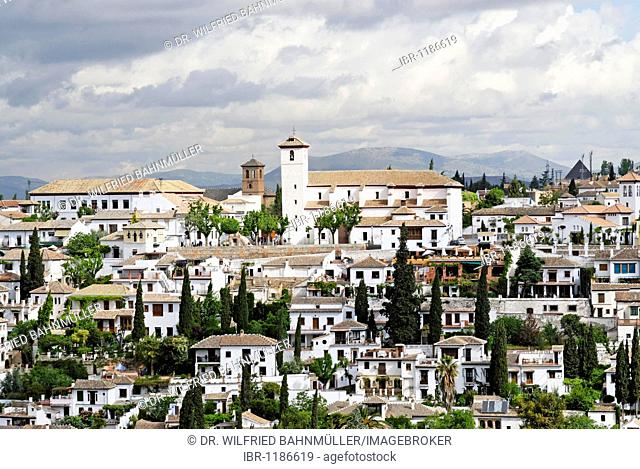 View from the Alhambra to the Sacromonte, Granada, Andalusia, Spain, Europe