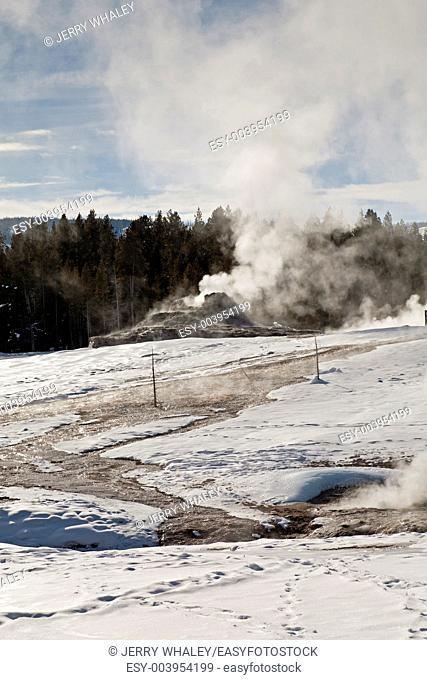 Winter, Upper Geyser Basin in Yellowstone NP, WY