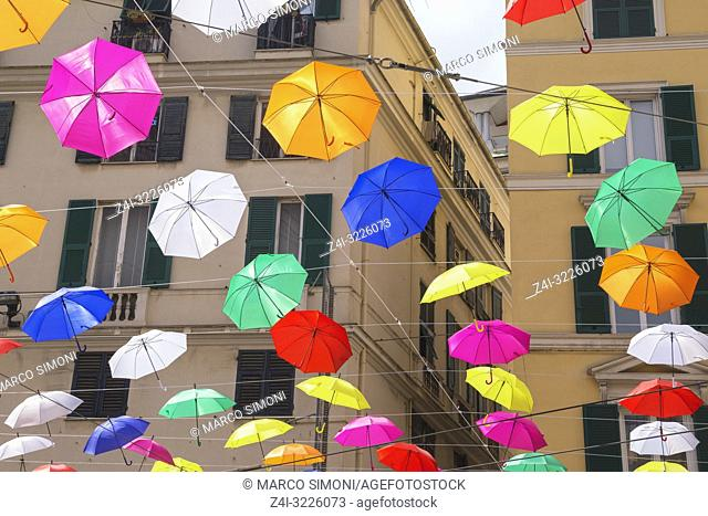 Brightly coloured floating umbrellas, Genoa, Liguria, Italy, Europe
