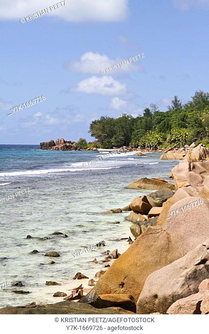 View of a beach at La Digue Island, Seychelles
