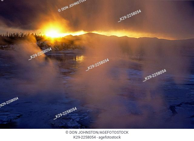 Norris Geyser Basin in winter, at sunset, Yellowstone National Park, Wyoming, USA