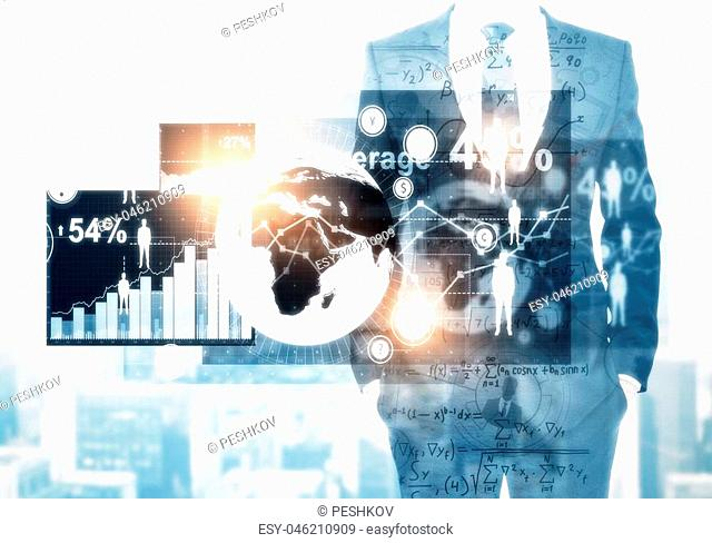 Unrecognizable businessman with glowing business interface on abstract city background. Innovation and media concept. Double exposure