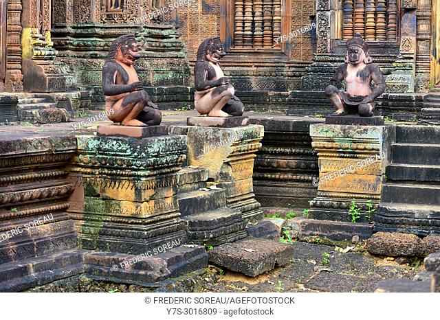 Monkey guardians at Banteay Srei temple, located in the area of Angkor, was desiccated to the Hindu God Shiva, Cambodia, South East Asia, Asia