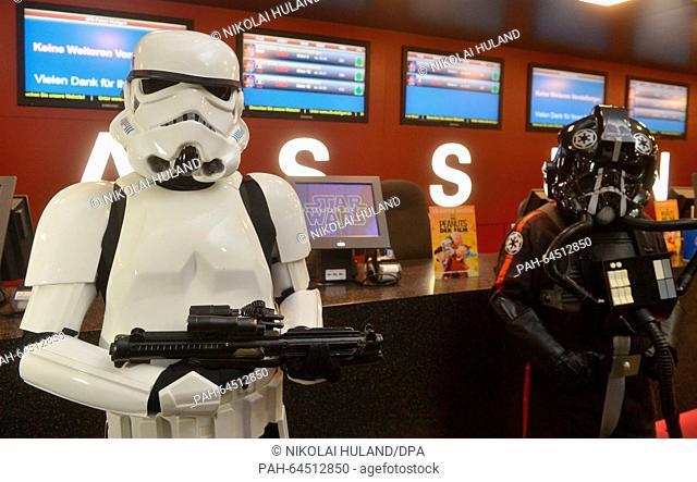Members of a Star Wars fan club wear costumes to the premiere of the new Star Wars film in Stuttgart, Germany, 17 December 2015