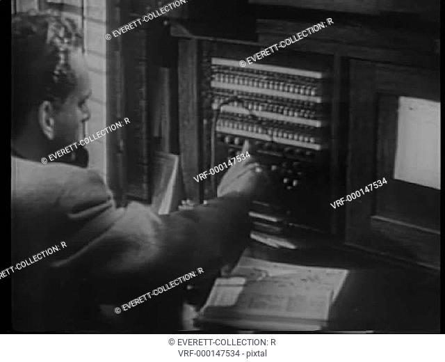 Telegraph operators at work