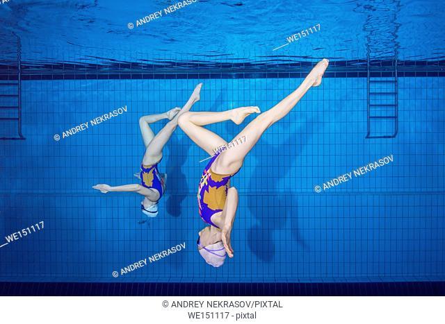 Underwater view of Synchronized Swimming, Nikolaev, Ukraine, Eastern Europe