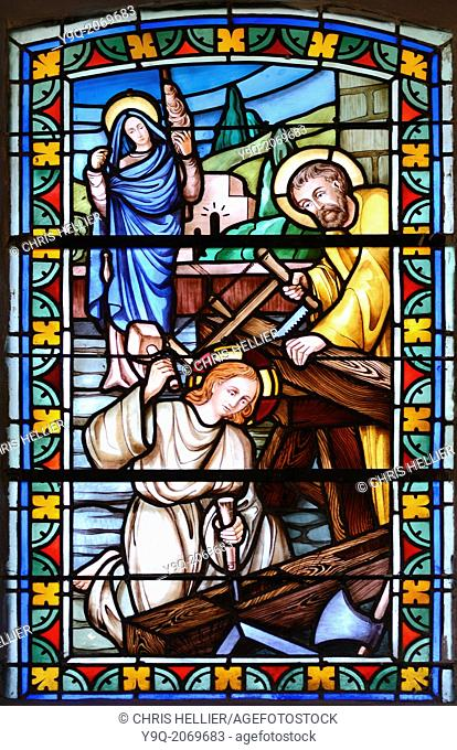 Joseph & Mary Carpenters Stained Glass Church of Thomas Becket Avrieux Maurienne Valley Savoie France