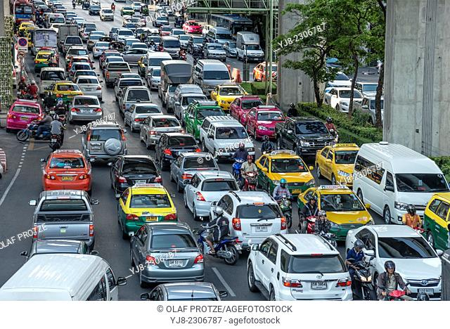 Streetscape with traffic jam in the city centre of Bangkok, Thailand