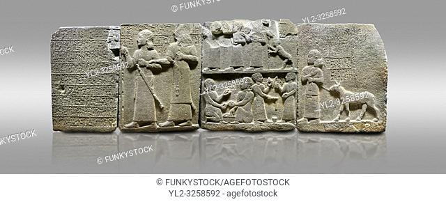 Picture & image of Hittite monumental relief sculpted orthostat stone panel of Royal Buttress. Basalt, Karkamis, (Kargamis), Carchemish (Karkemish), 900-700 B