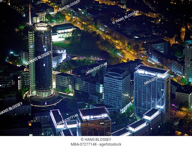 Aerial view, Night shot, City with central station at night, Essen, Ruhr area, North Rhine-Westphalia, Germany, Europe