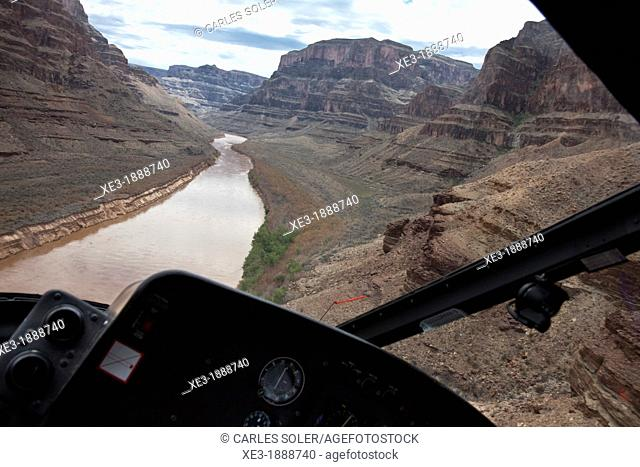 View of the Grand Canyon from inside a helicopter, Arizona, USA