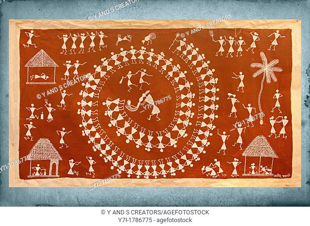 Warli painting maharashtra india stock photos and images age fotostock warli wall painting handicraft maharashtra india altavistaventures Image collections