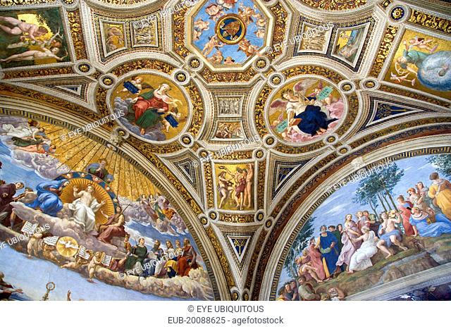 Vatican City Museums The Raphael Rooms in the private apartments of Pope Julius II The Room of the Signatura with the wall paintings of The Disputation of The...