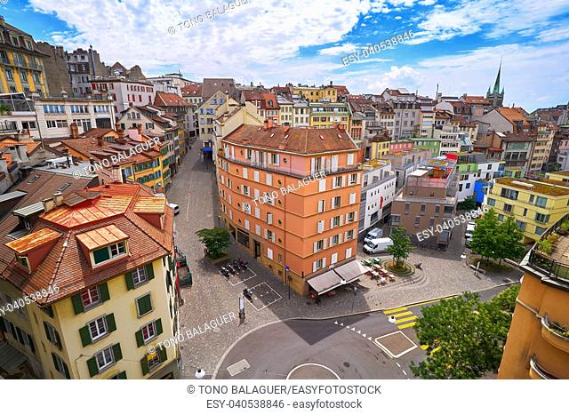 Lausanne city in Switzerland Swiss aerial view