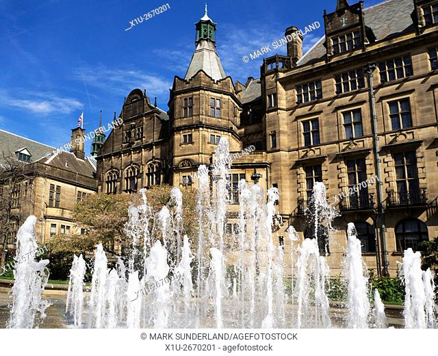 Fountain and Town Hall Sheffield South Yorkshire England