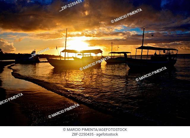 Sunset in Garapua Beach. Tinhare Island, Bahia, Brazil