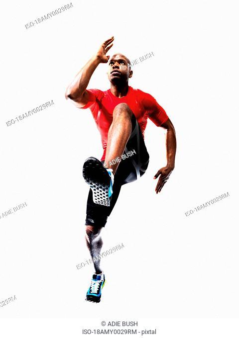 Male Athlete preparing to Run