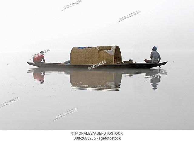 South east Asia, India,Tripura state,Bambur lake,fishermen