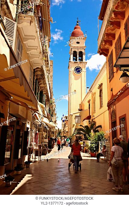 Bell tower of the Greek Orthodox Church of St  Spyridon, the patron Saint of Corfu  Greek Ionian Islands