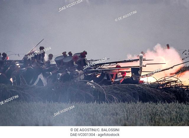 Napoleonic infantry opening fire on British lines, Battle of Waterloo, 1815. Napoleonic Wars, 19th century. Historical reenactment