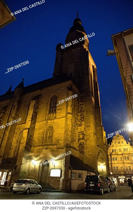 Heidelberg cityscape by night on May 11, 2016. Holy spirit church