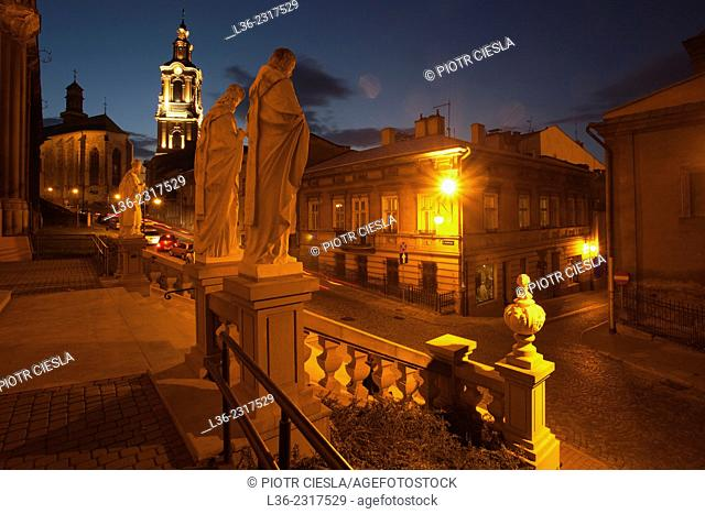 Old town of Przemysl at night, Poland
