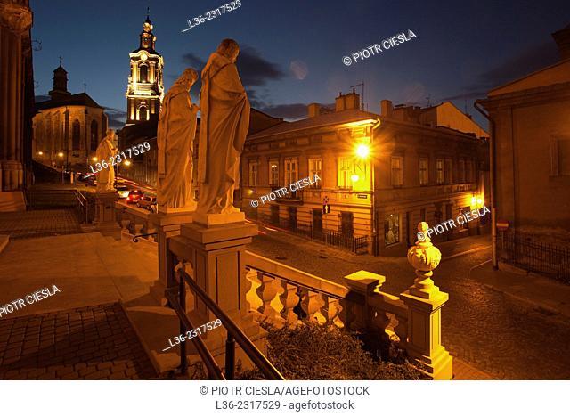 Old town of Przemysl at night, Poland