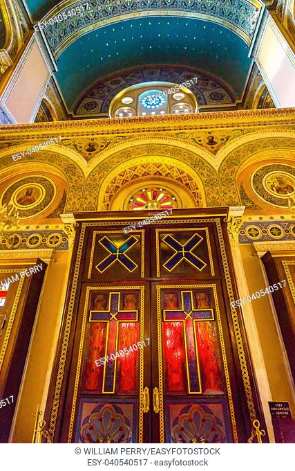 Red Doors Crosses Metropolitan Basilica Cathedral Athens Greece. Built in 1842, Main Greek Orthodox Church in Athens