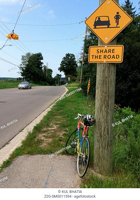 Share the road sign, Ontario Canada